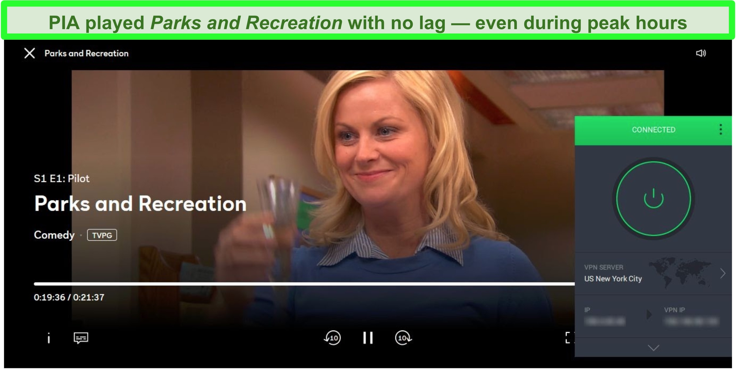 Screenshot of PIA unblocking Parks and Recreation on Peacock while connected to a NYC server