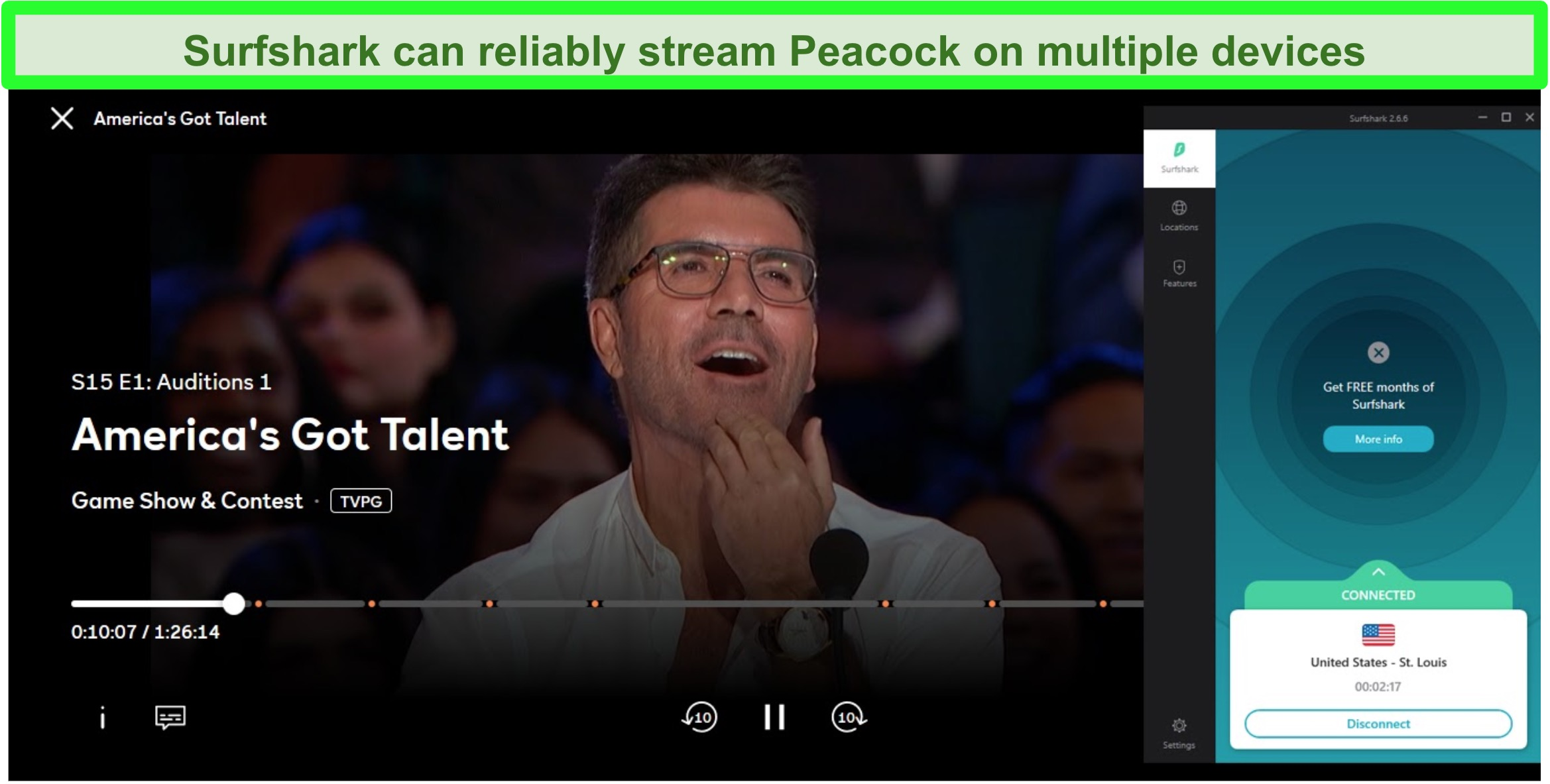 Screenshot of Peacock streaming America's Got Talent while connected to a St. Louis server