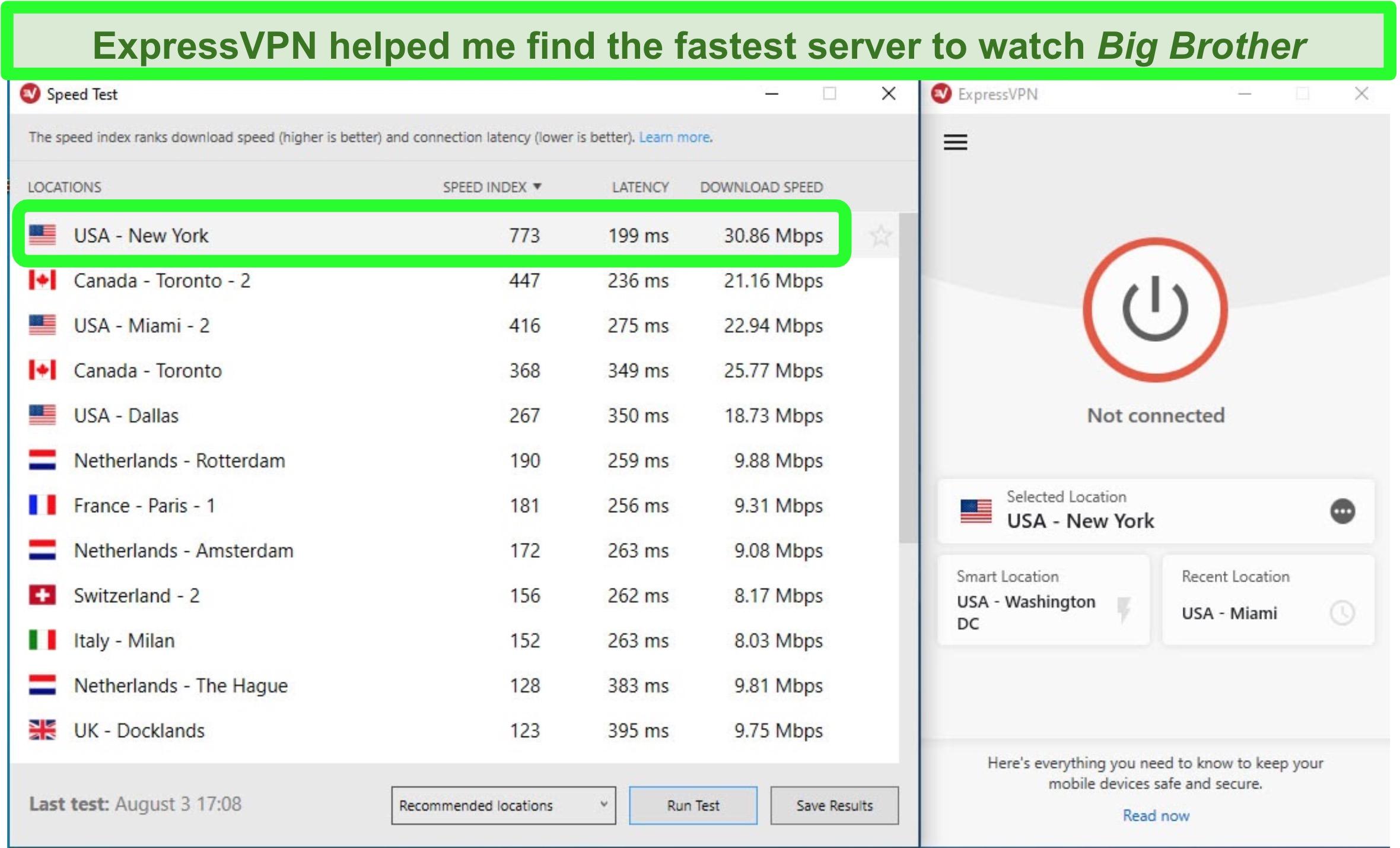 Screenshot of ExpressVPN's speed test tool