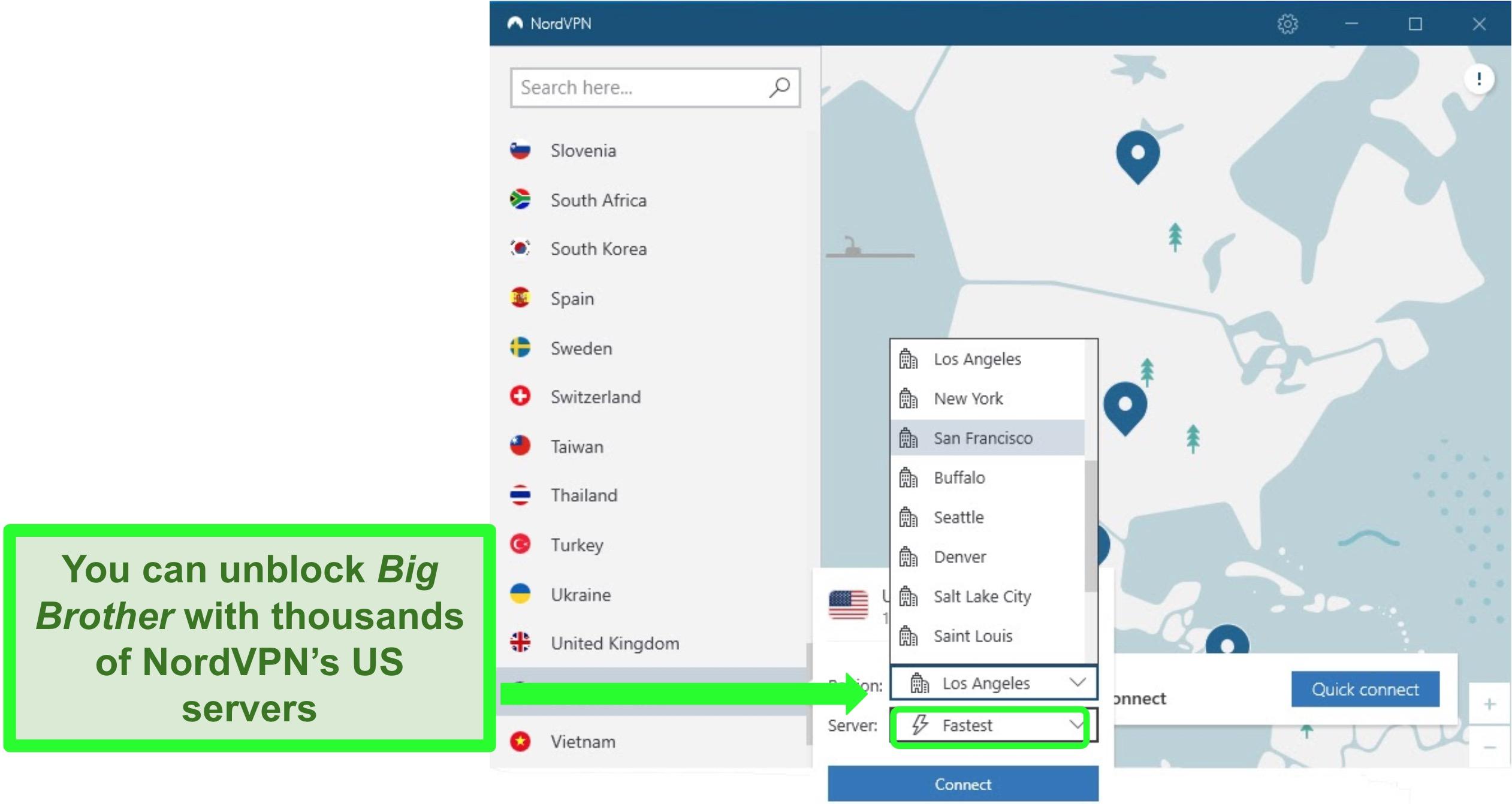 Screenshot of NordVPN's server options in the US