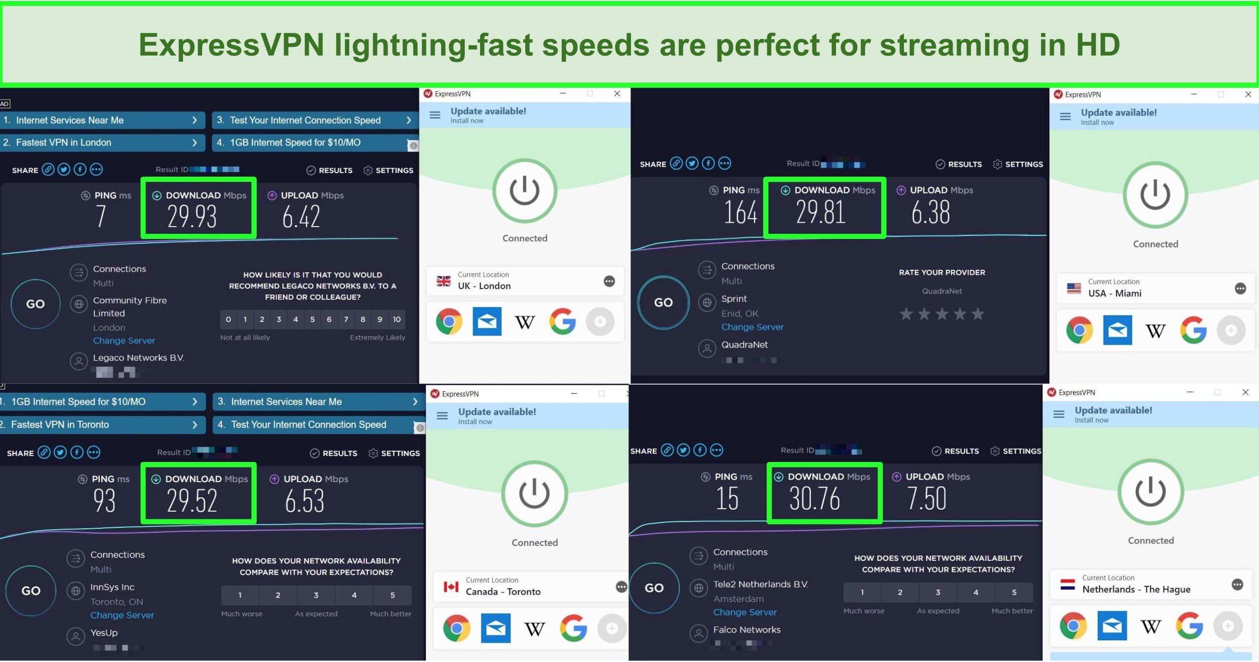 Screenshots of speedtests of 4 different ExpressVPN server locations