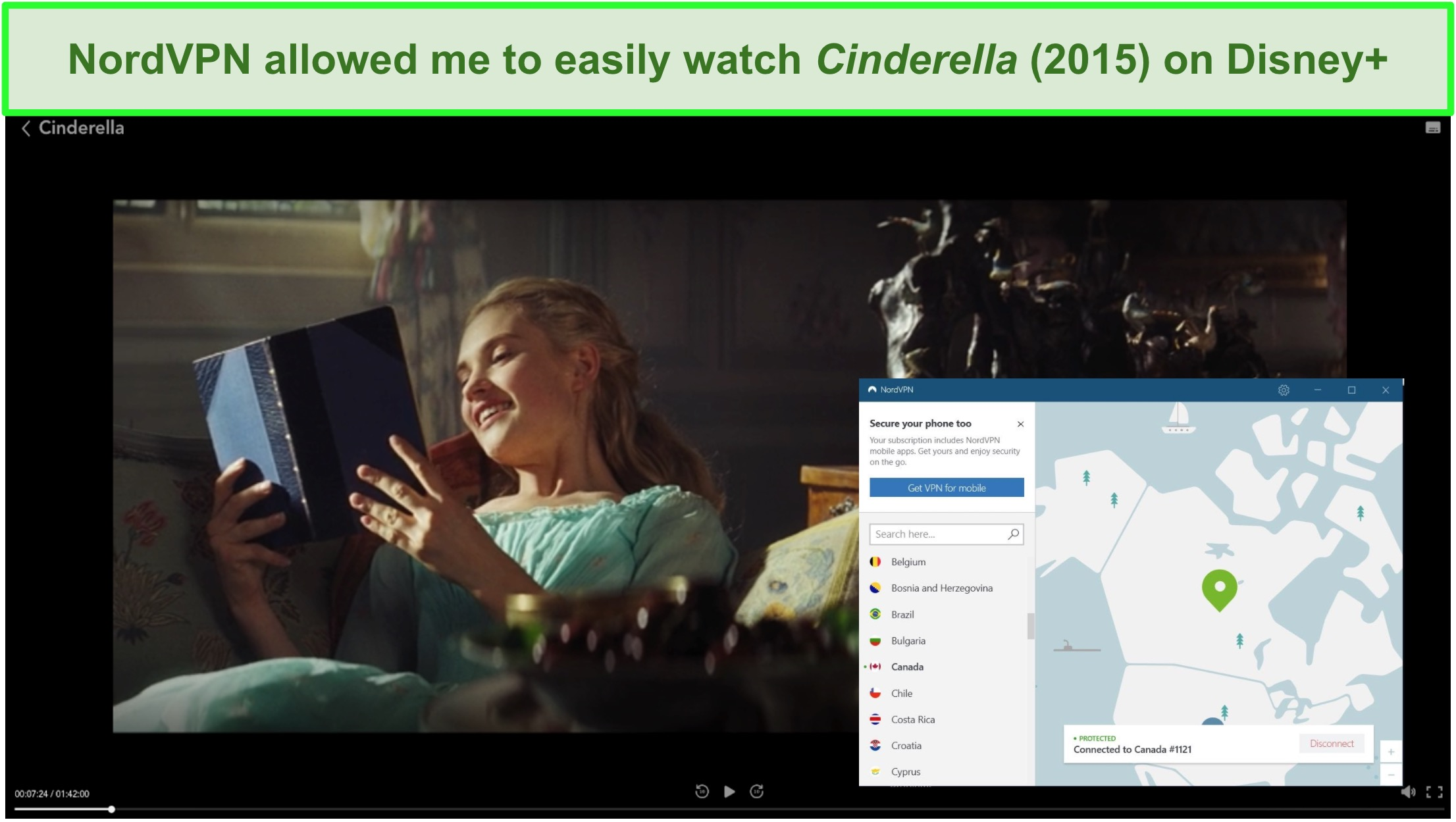 Screenshot of successfully streaming Cinderella (2015) with NordVPN.