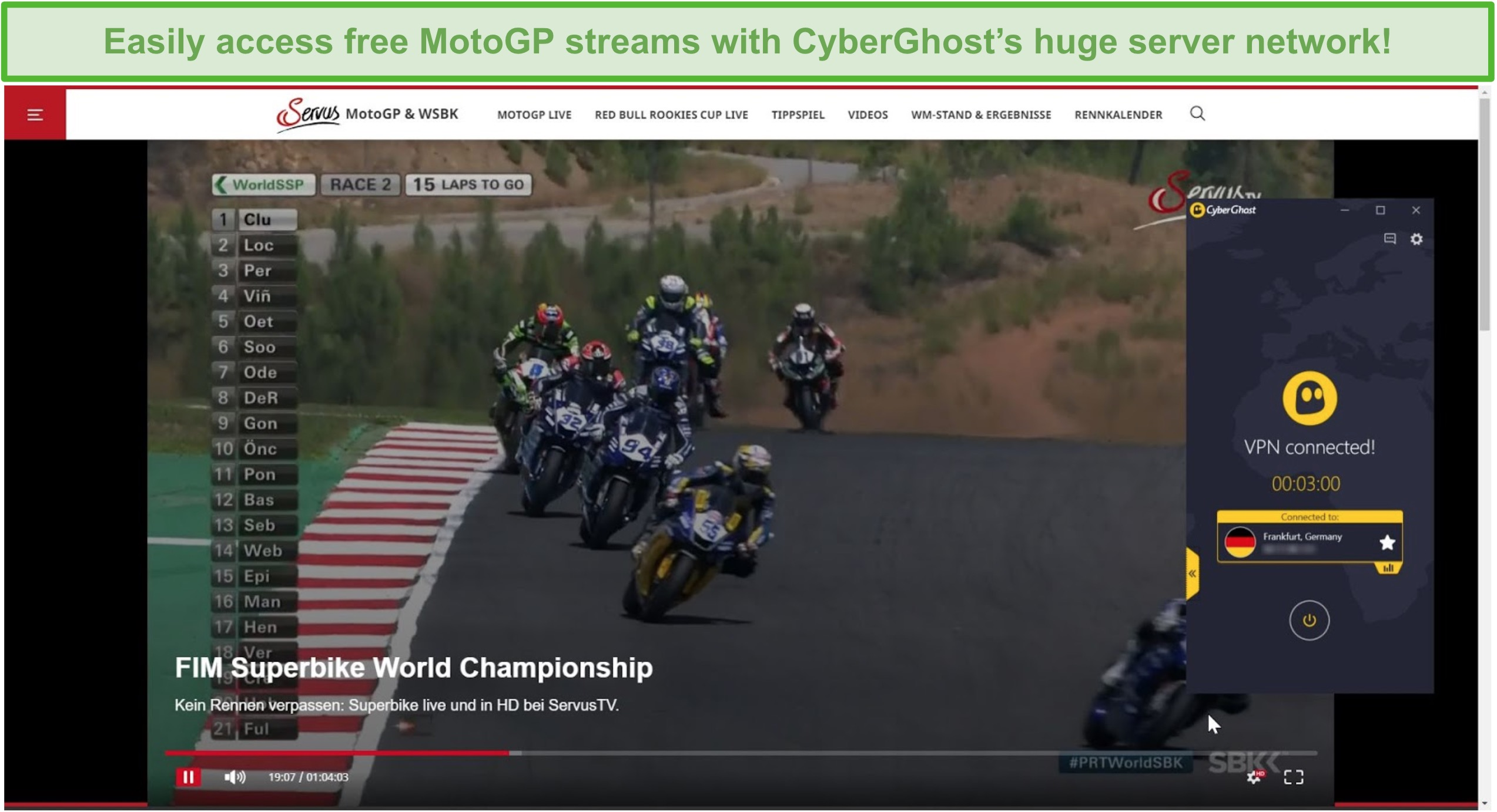 Screenshot of CyberGhost connected to a German server and unblocking a MotoGP stream on ServusTV.