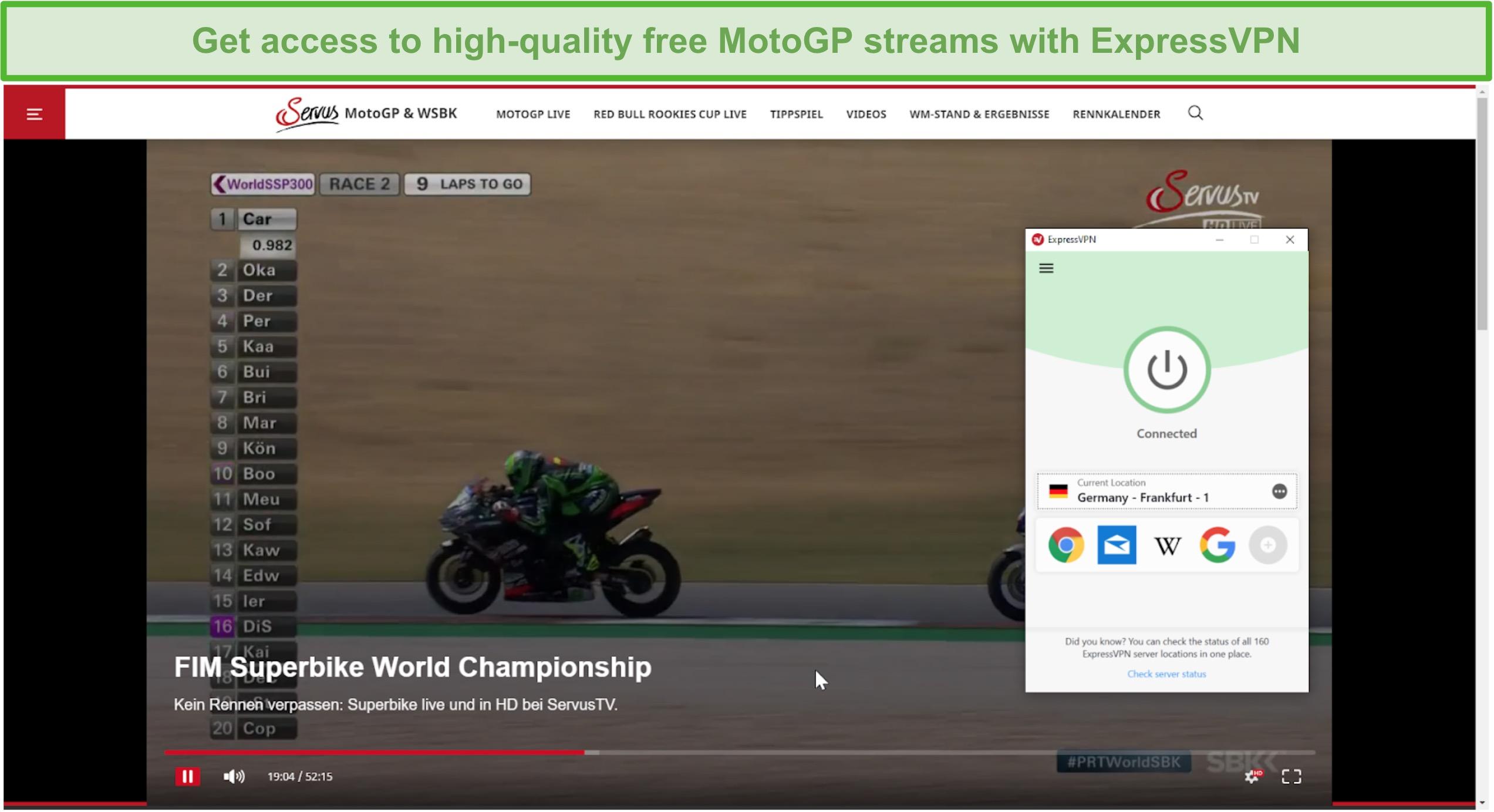 Screenshot of ExpressVPN connected to a German server and unblocking a MotoGP stream on ServusTV.