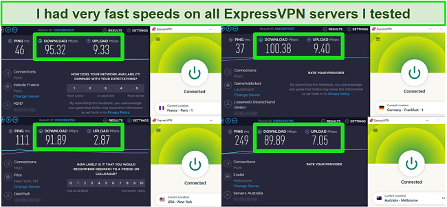 Screenshot of 4 ExpressVPN speed tests
