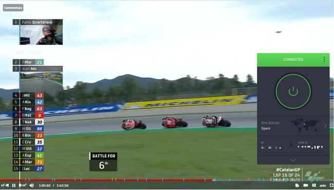 Screenshot of PIA unblocking the MotoGP races