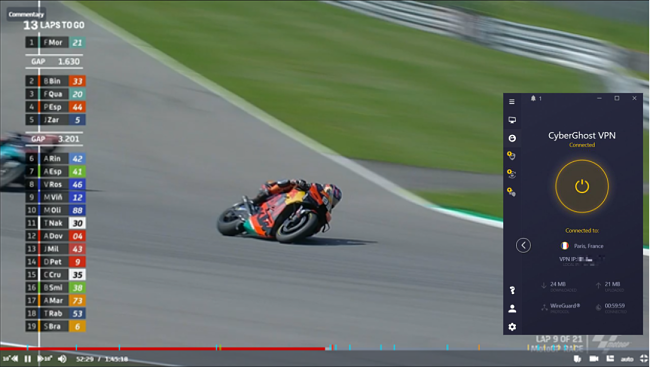 Screenshot of CyberGhost unblocking the MotoGP races