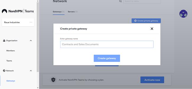 Screenshot of NordVPN Teams create private gateway