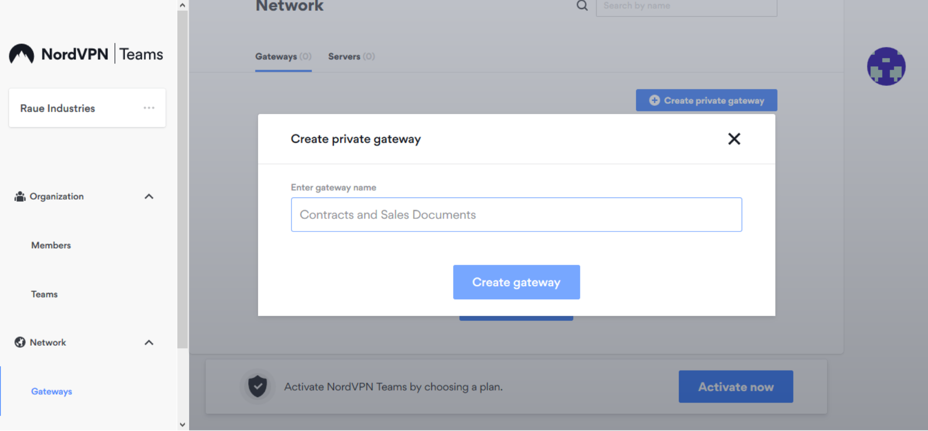 Screenshot of NordVPN Teams create private gateway
