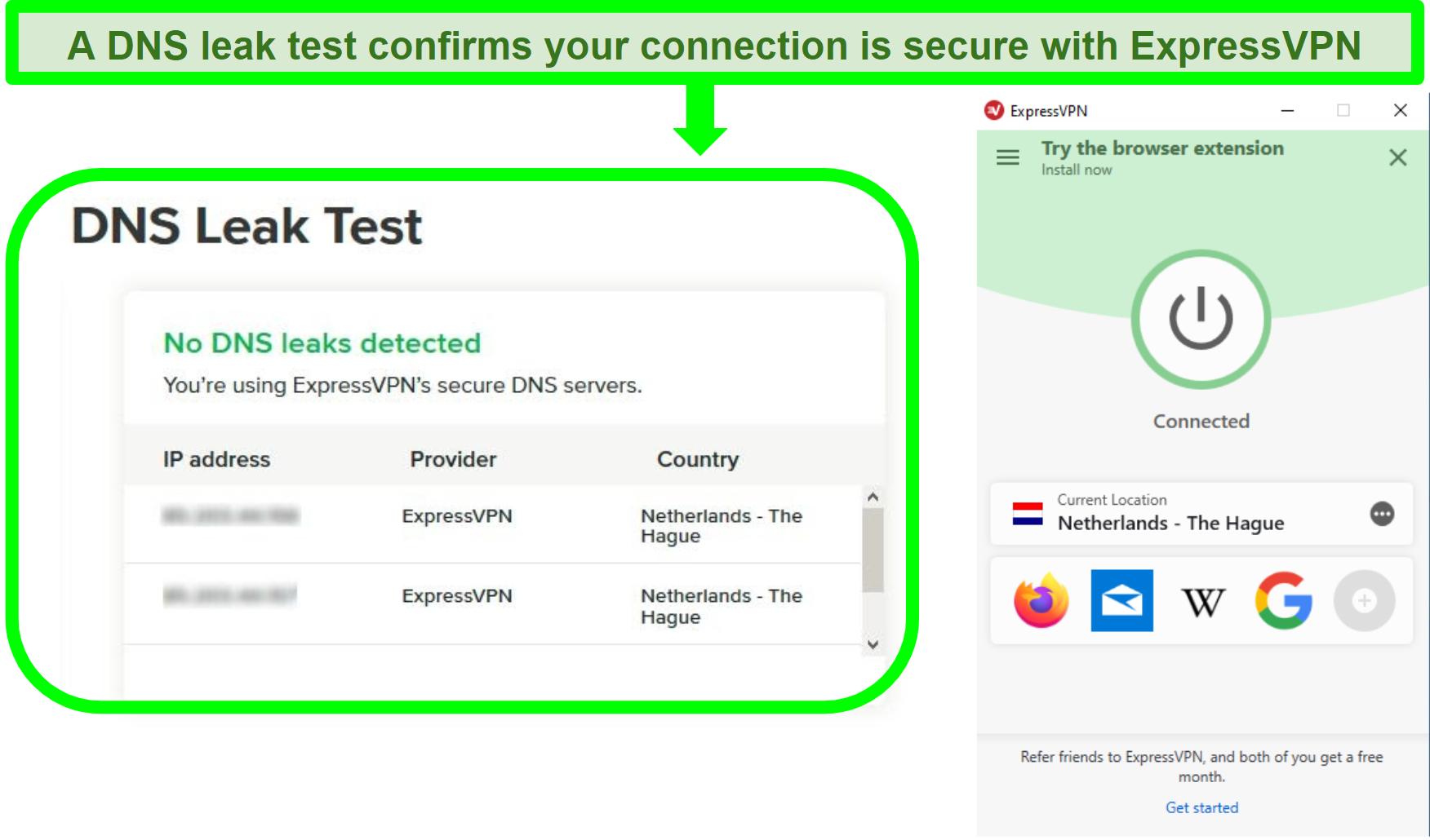 Screenshot of a DNS leak test while ExpressVPN is connected to a server in the Netherlands
