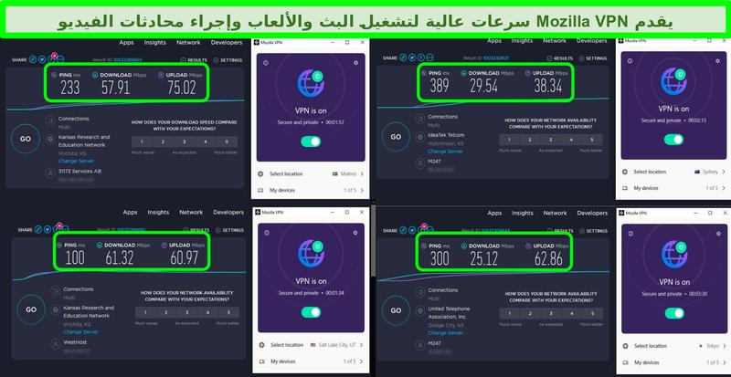 لقطة شاشة لأربعة اختبارات سرعة مع Mozilla VPN متصلة بخوادم حول العالم