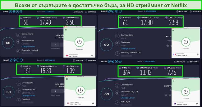 Снимки на тест за скорост ExpressVPN, показващ бързи скорости за различни сървъри по целия свят за HD Netflix стрийминг
