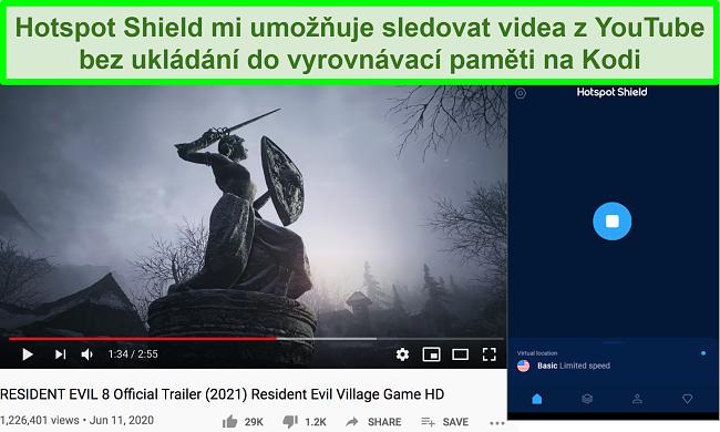 Screenshot z aktivního štítu aktivovaného při streamování videa z Resident Evil 8 na YouTube