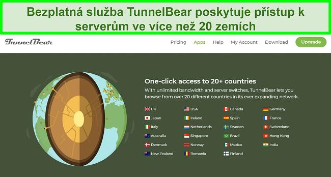 Screenshot stránky TunnelBear s podrobnými informacemi o umístění serveru