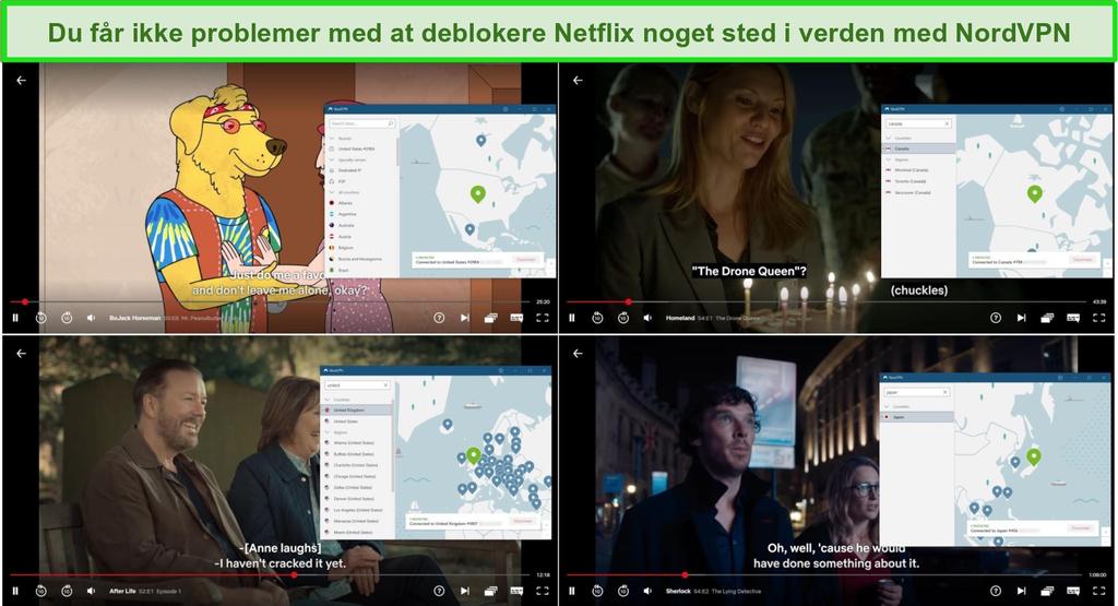 Skærmbillede af NordVPN-blokering og streaming fra Netflix US (Bojack Horseman), Canada (Homeland), Storbritannien (After Life) og Japan (Sherlock).