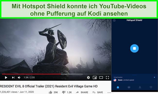 Screenshot des Hotspot-Schutzschilds, der beim Streaming des YouTube-Videos von Resident Evil 8 aktiviert wurde
