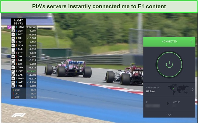 Screenshot of F1 race streaming with PIA connected to a US server.
