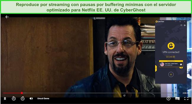 Captura de pantalla de CyberGhost sin pasar por los geobloques de Netflix US para transmitir gemas sin cortar