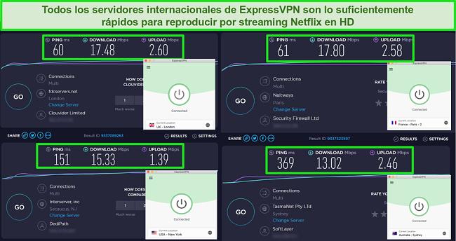 Capturas de pantalla de la prueba de velocidad de ExpressVPN que muestra velocidades rápidas para diferentes servidores de todo el mundo para transmisión de Netflix en HD