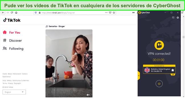 Captura de pantalla para desbloquear videos de TikTok con CyberGhost