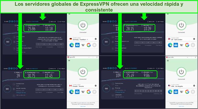 Captura de pantalla de las velocidades de los servidores globales de ExpressVPN con poca diferencia en Mbps de descarga