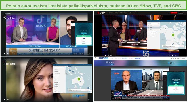 Näyttökuva NordVPN: n ja Surfsharkin lukituksen avaamisesta useille paikallisille televisioasemille, mukaan lukien 9Now, TVP ja CBC.
