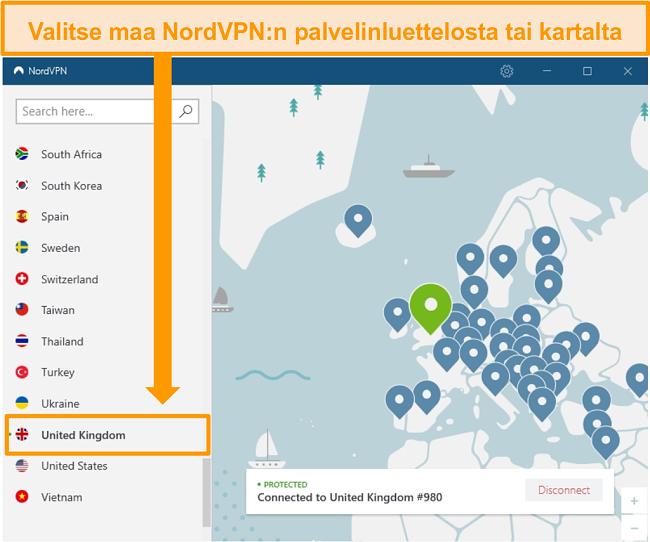 Näyttökuva NordVPN: stä, joka on kytketty Ison-Britannian palvelimeen.