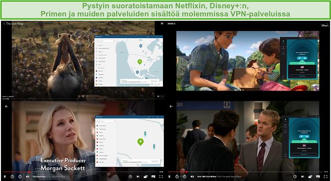 Näyttökuva NordVPN: n ja Surfsharkin estämisestä eri TV-ohjelmien ja elokuvien estoon Netflixissä ja Disney +: ssa.