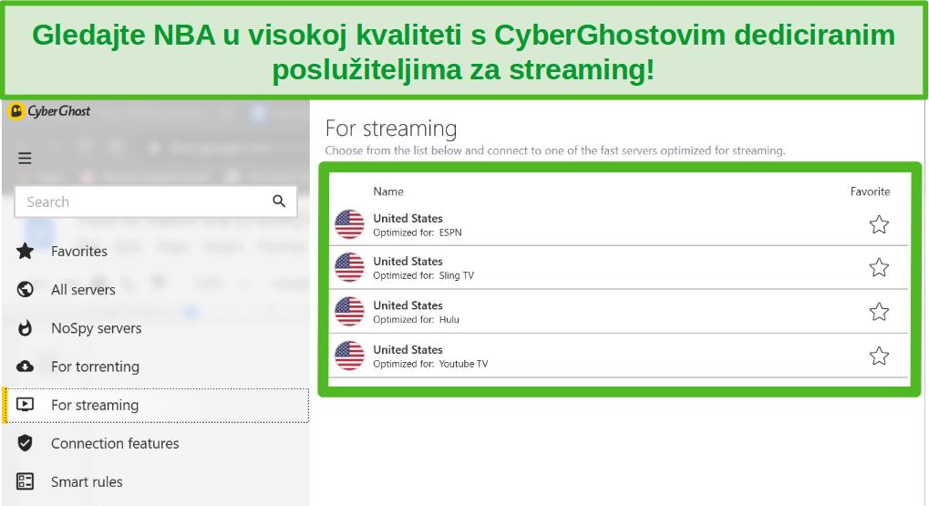 Snimka zaslona CyberGhost namjenskih streaming poslužitelja koji mogu pristupiti NBA doigravanju.