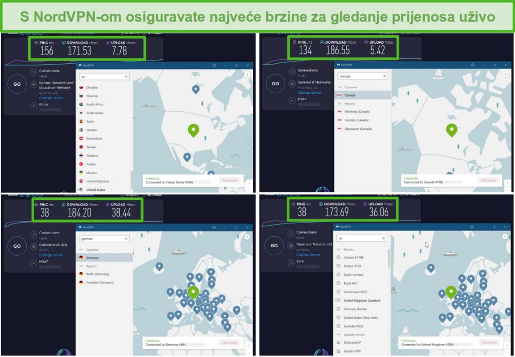Snimke zaslona rezultata ispitivanja brzine NordVPN dok su povezani s poslužiteljima u SAD-u, Kanadi, Velikoj Britaniji i Njemačkoj