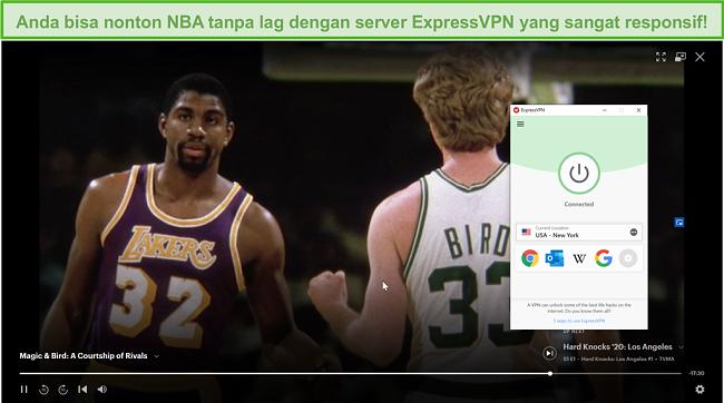 Tangkapan layar dari ExpressVPN yang membuka blokir Hulu AS dan memainkan Magic & Bird: A Courtship of Rivals