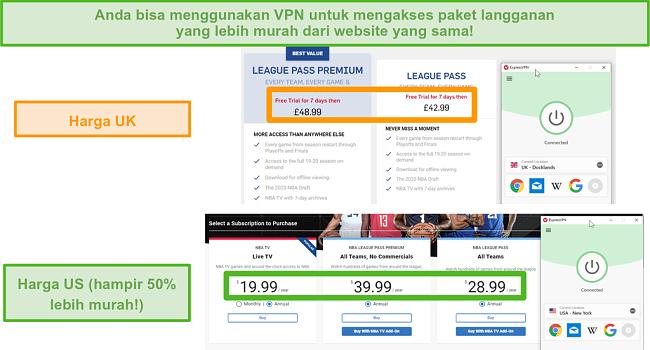 Tangkapan layar ExpressVPN yang terhubung ke server AS dengan harga yang lebih murah di NBA League Pass dibandingkan dengan paket Inggris yang lebih mahal.