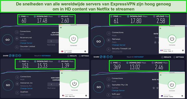 Schermafbeeldingen van de ExpressVPN-snelheidstest met hoge snelheden voor verschillende servers over de hele wereld voor HD Netflix-streaming
