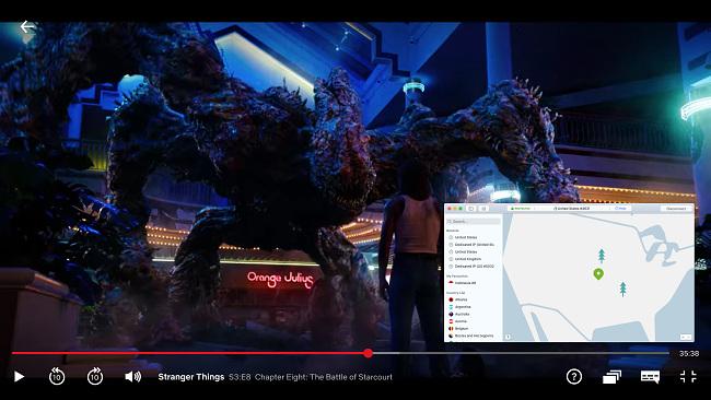 Screenshot of NordVPN streaming Stranger Things on Netflix
