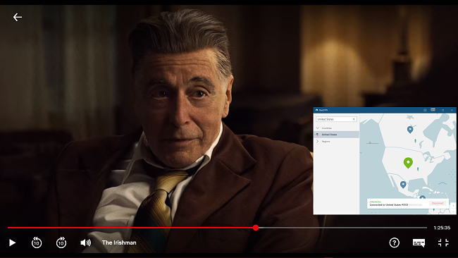 Screenshot of NordVPN streaming The Irishman on Netflix