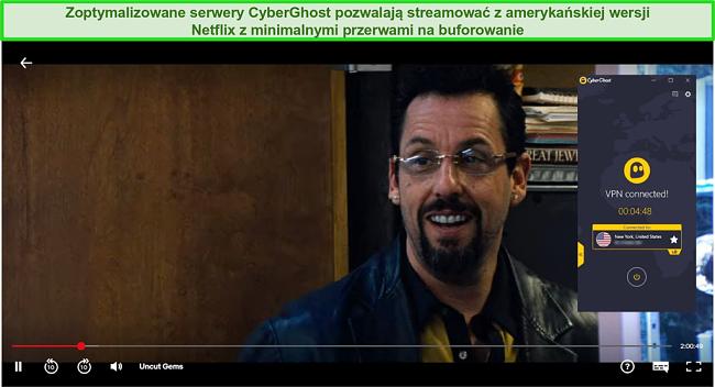 Zrzut ekranu przedstawiający CyberGhost omijający geoblokady Netflix US w celu przesyłania strumieniowego Uncut Gems