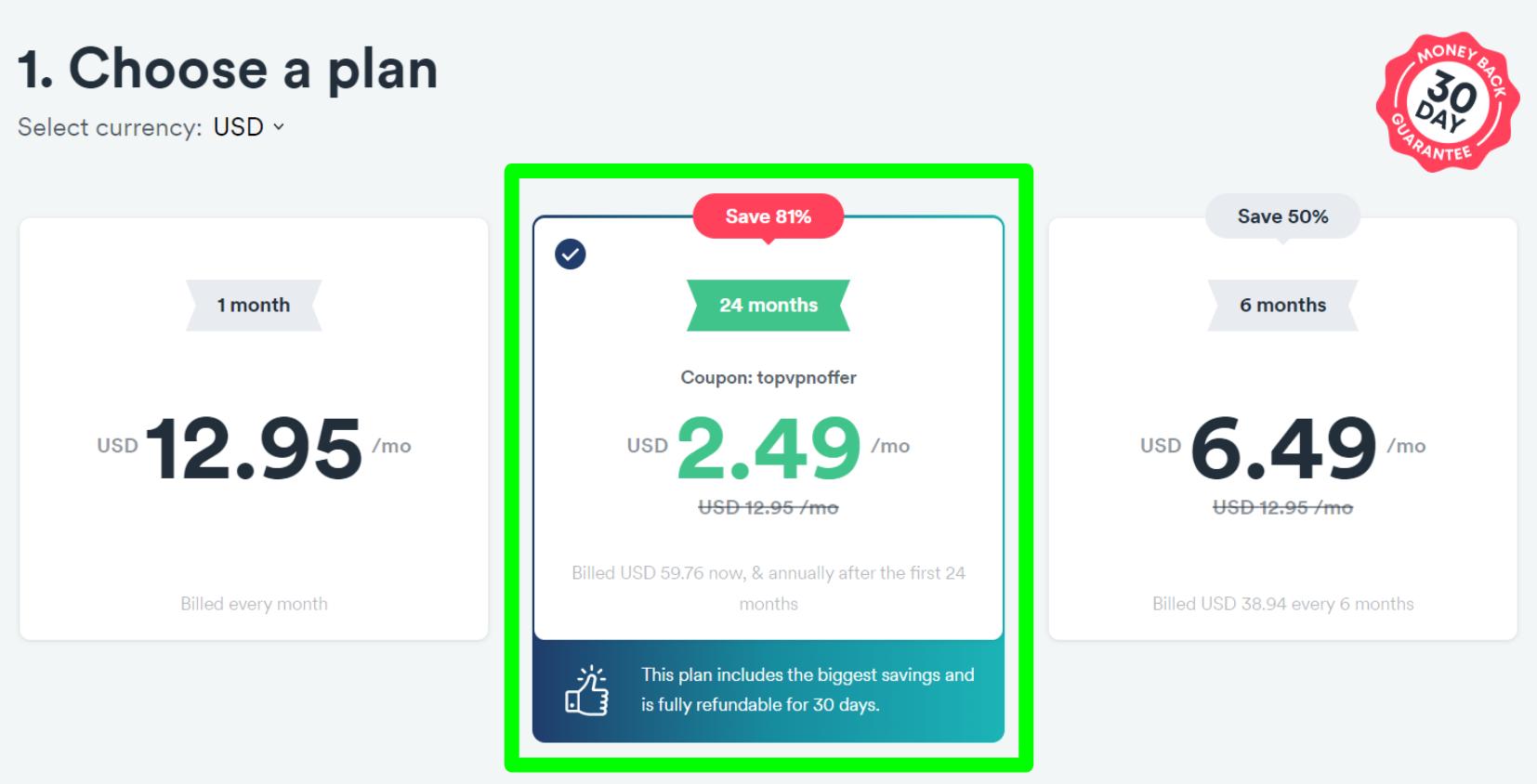 Surfshark定价表的屏幕截图显示了最佳交易的81%折扣