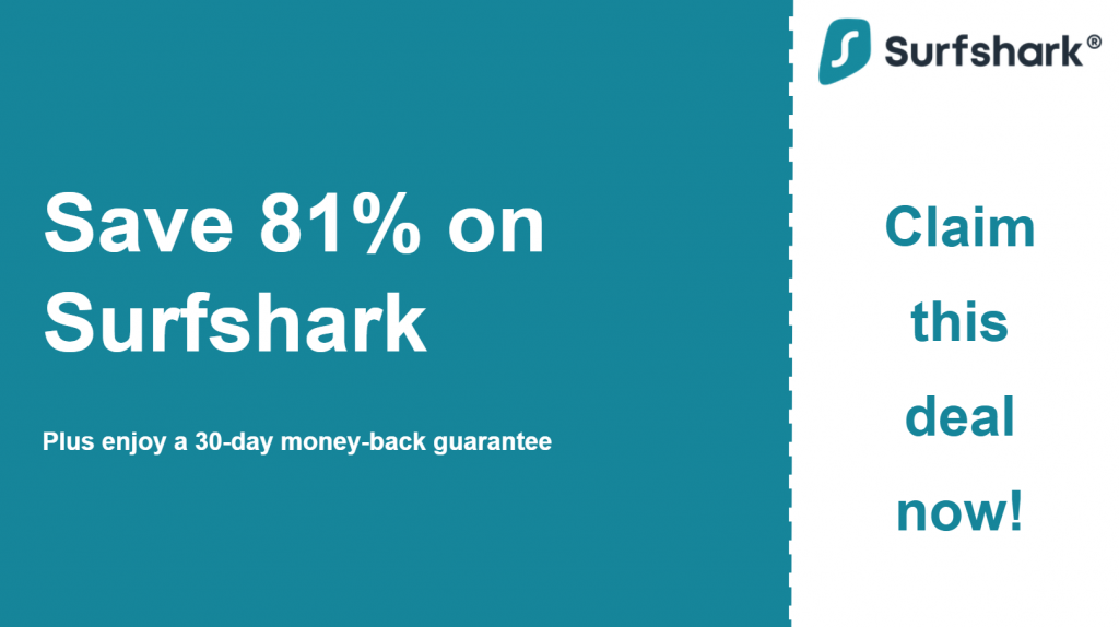 Graphic of Surfshark's main coupon banner showing 81% off