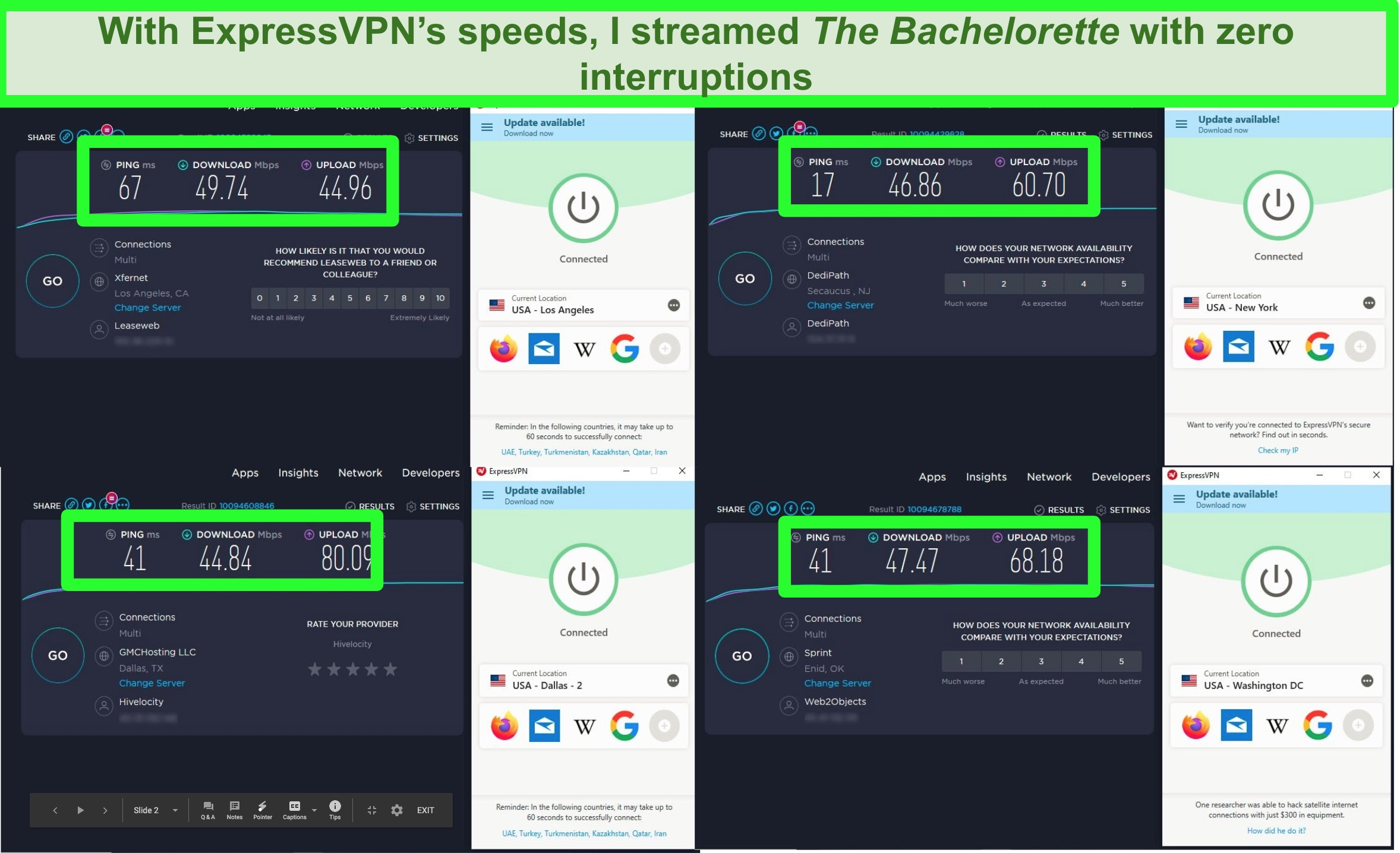 Screenshot of speed tests while connected to ExpressVPN