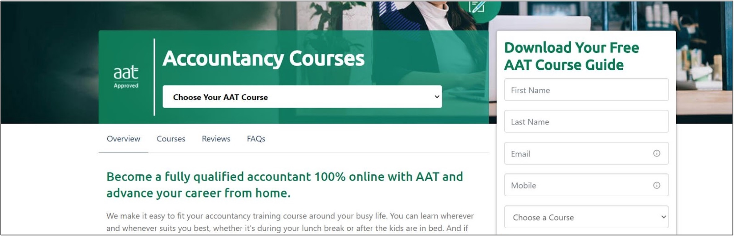 Screenshot of Accountancy courses on ICS Learn