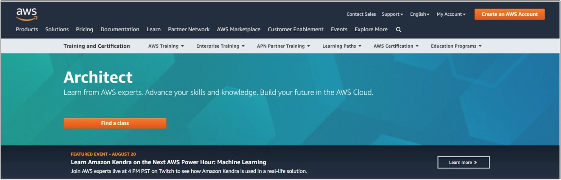 Screenshot of an Amazon Web Services Architect course