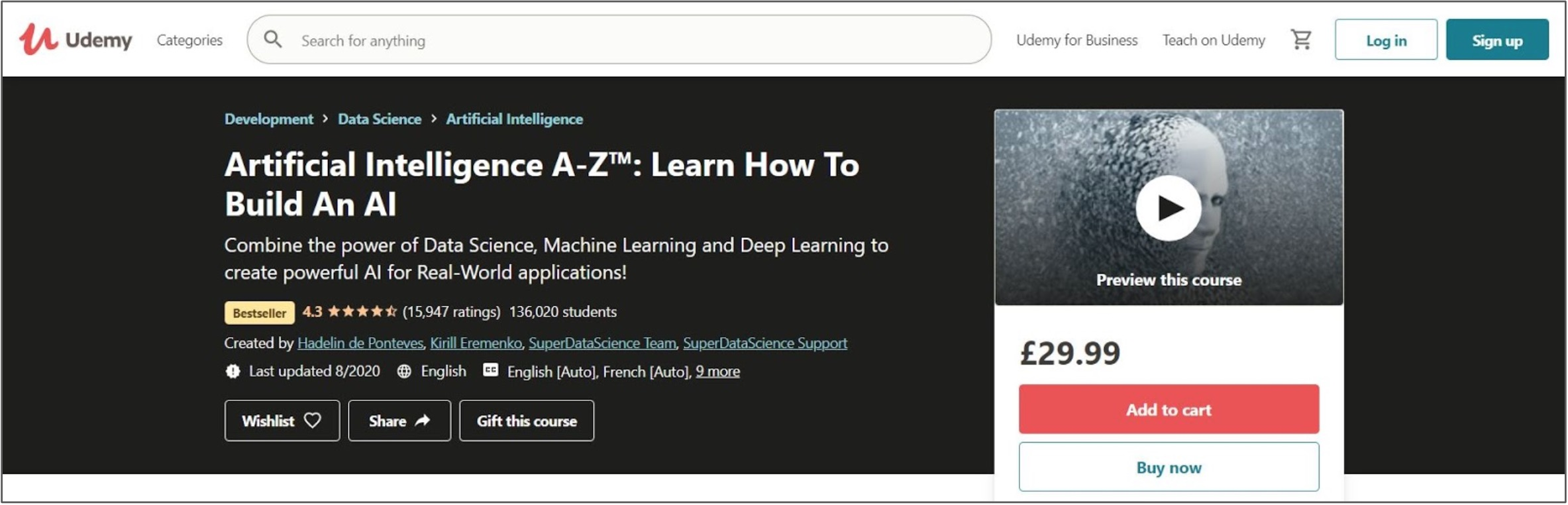 Screenshot of an Artificial Intelligence course on Udemy
