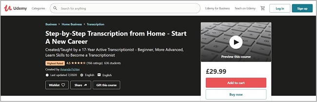 Screenshot of a transcription course on Udemy