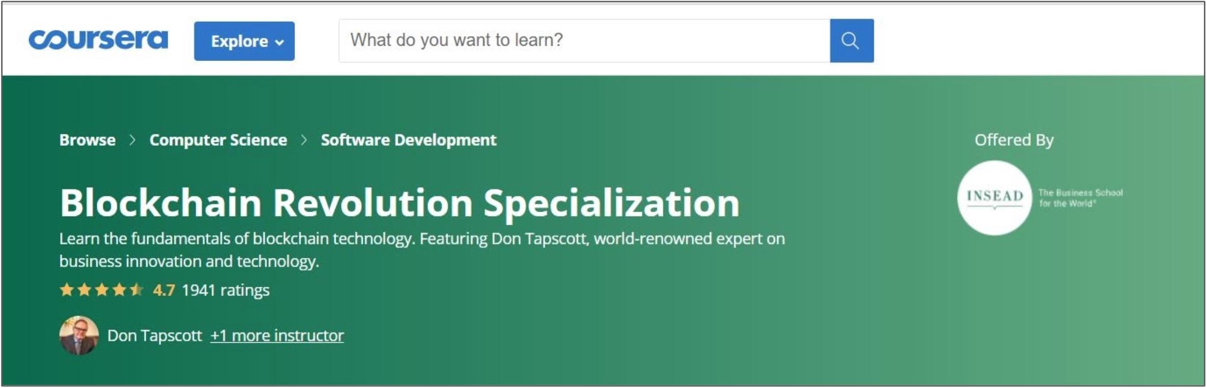 Screenshot of a Blockchain course on Coursera