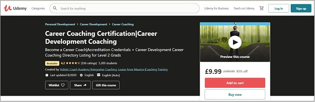 Screenshot of a Career Coaching Certification course on Udemy