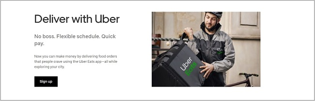 Screenshot of the driver sign up page on Uber Eats