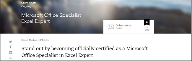 Screenshot of the official Microsoft Excel certification course on Acca Global