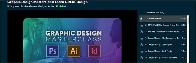Screenshot of a Graphic Design Masterclass on Skillshare