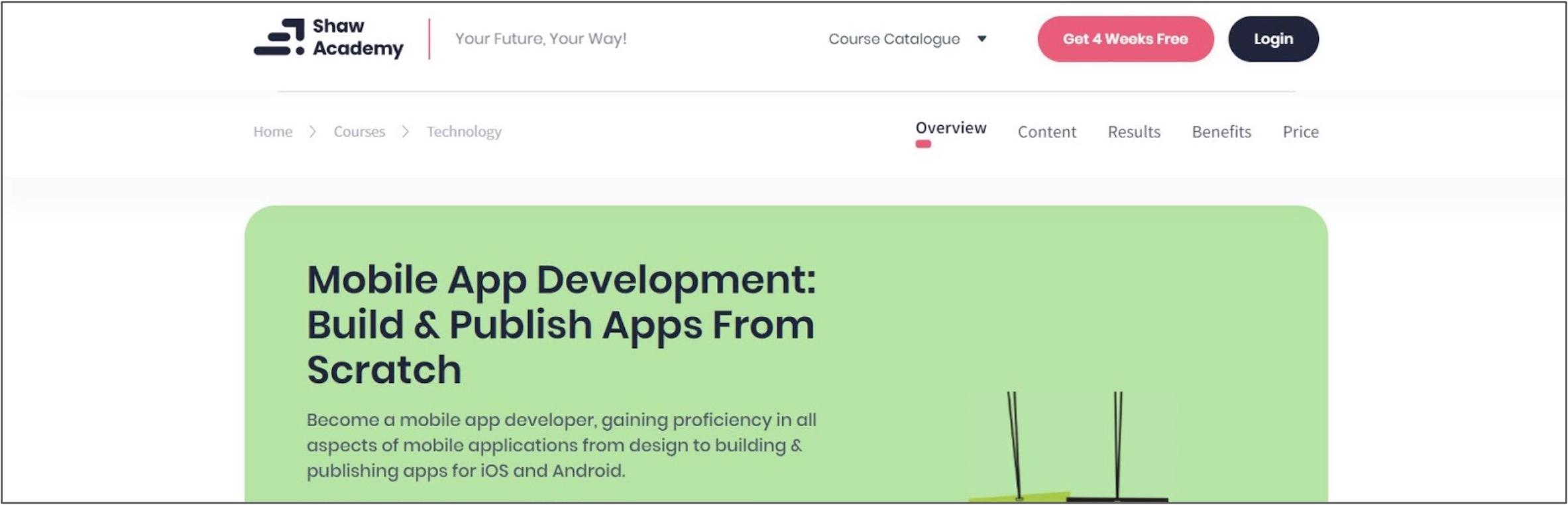Screenshot of a Mobile App Development corse on Show Academy
