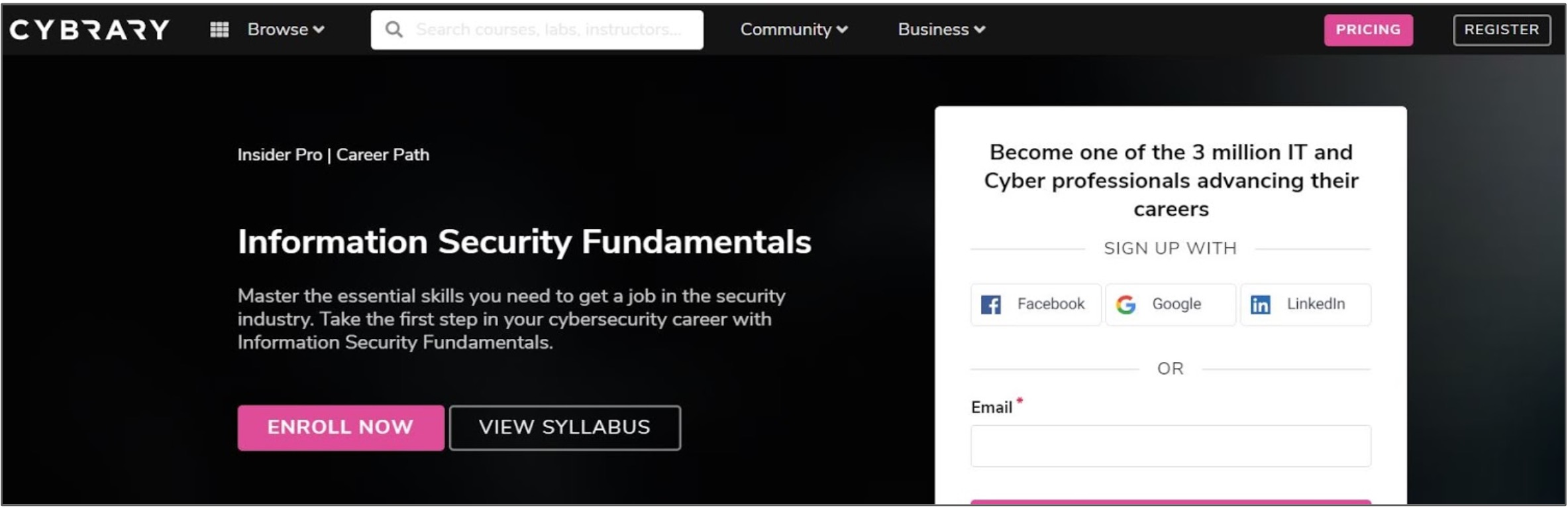 Screenshot of a Cybersecurity course on Cybrary
